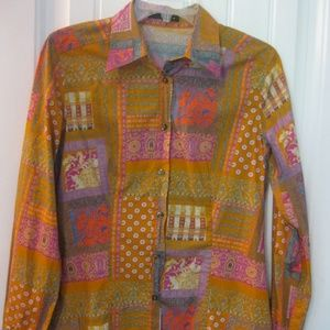 ETRO Milan Italy Woman's Funky Button Front Shirt